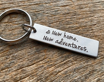 New Home New Adventures Realtor Hand Stamped Light Weight  Aluminum Rectangle  key chain Best Friend/ New Home Owner / First Home