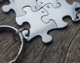 Customizable Fab 4 Puzzle Piece Key Chain Set of 4 Hand Stamped Personalized His and Hers Set 4 Best Friends