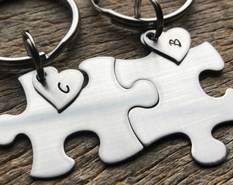 Blank Only Puzzle Pieces With Initial Hearts Couples Custom key Chain Set  anniversary gift for Him / Her Personalized Birthday