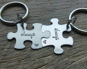 Customized Always Puzzle Piece Key Chain  Show You Will Always Love Each Other Choose your Quantity