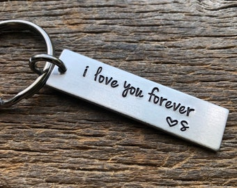 Customizable ILove You Forever With Initial Hand Stamped Aluminum Rectangle  key chain Best Friends/Boyfriend/Girlfriend/Wife/Husband