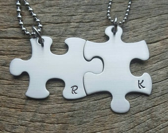 Puzzle Piece Initials  Couples Necklace set - His and Hers - Initials Necklace - Hand Stamped Customized