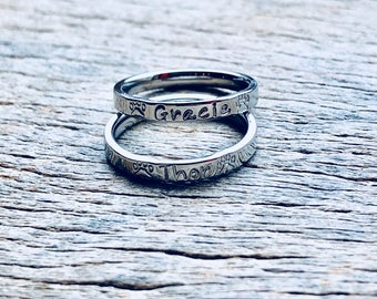 Hand Stamped Pet Paw Print Name Ring Stacking Ring Animal Ring Personalized  3mm Shiny  Stainless Steel comfort fit flat faced Pet lover
