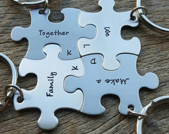 Personalized Hand Stamped set of 4 Puzzle Piece Key Chain Set Together We Make a Family  Customizable  Blended Family
