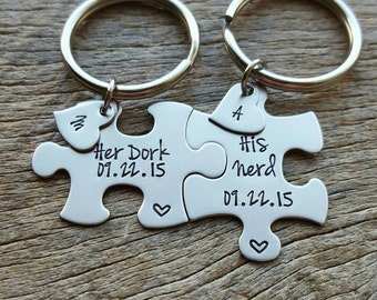 Couples Custom Puzzle Piece key Chain Set Hers and His Her Dork His Nerd with Initial Hearts anniversary gift for Him Personalized