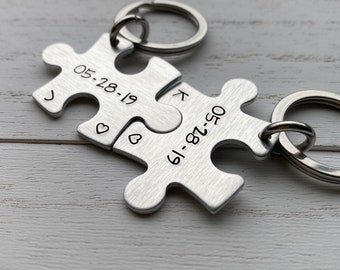 Lightweight Aluminum Hand Stamped Puzzle Piece Date Key Chain  Sisters ~ Cousins~ Sorority ~Boyfriend ~ Girlfriend ~Wife ~Husband Gift