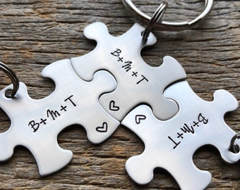 Customized Best Friends Initials Puzzle Piece Key Chain Personalized Family  sorority sisters key chain Christmas Gift