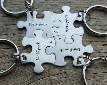 Customized Best Friends Wolfpack Puzzle Piece Key Chain with Initials  Personalized sorority sisters key chain