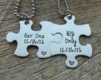 Puzzle Piece Necklace Set Her One His Only Hand Stamped Hers and His Customizable Gift