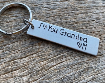 I Love You GrandpaCustomizable Hand Stamped Light Weight  Aluminum Rectangle  key chain Grandparents / Grandkids/ Christmas