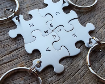 Customizable Puzzle Piece Key Chain Personalized with Initials best friends / College Moving/Family/ sorority