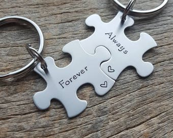 Personalized  Customizable Forever And Always  Puzzle Piece Key Chain Set Hand Stamped Couples Set His and Hers