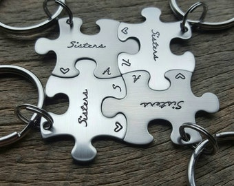 Customizable Sisters Puzzle Piece Key Chains with Initials and heart Hand Stamped Stainless Steel  - Choose Your Quantity