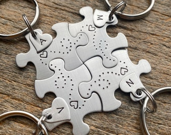 Set of 4 Customized Dotted Heart Puzzle Piece Key Chain with Initial Hearts  best friends sorority sisters key chain Christmas Gift