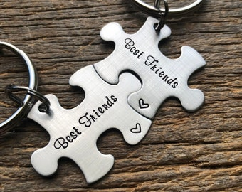 Best Friends Customized Puzzle Piece Key Chain Personalized / College Moving/Family/ sorority sisters key chain friend gift