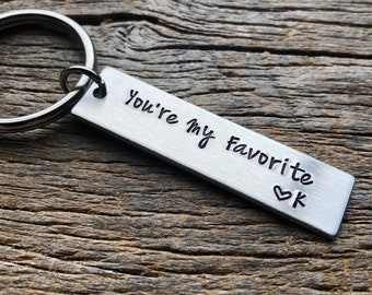 Customizable You're My Favorite with Initial Hand Stamped Light Weight  Aluminum Rectangle  key chain Best Friend/Boyfriend/Girlfriend