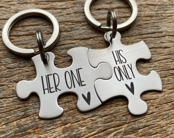 Ready To Ship Laser Engraved Her One His Only stainless steel puzzle key chain set Gift for Him /Her /Anniversary/ Husband /Wife