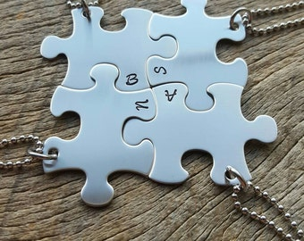 Personalized Initials Only Hand Stamped Puzzle Piece Necklaces -Choose Your Quantity- Bridesmaids Wedding Graduation