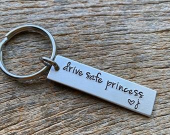 Drive Safe Princess Customizable Initial Hand Stamped Light Weight  Aluminum Travel key chain Best Friend/Boyfriend/Girlfriend / Christmas