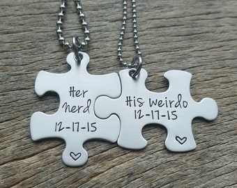 Customizable Her Nerd His Weirdo and Date Necklace Set - Hand Stamped Stainless Steel Wedding Anniversary Gift