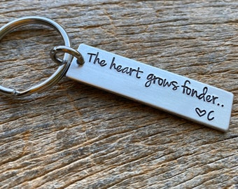 The Heart Grows Fonder Customizable Hand Stamped Light Weight  Aluminum Travel key chain Best Friend/Boyfriend/Girlfriend / Christmas