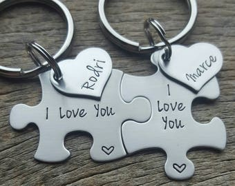 Customizable I Love You Puzzle Piece Key Chain Set with Name Heart Gift For Him or Her Boyfriend/Girlfriend/Husband/Wife Anniversary