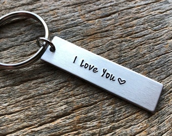 I Love You No Other Customization  Hand Stamped Light Weight  Aluminum Rectangle  key chain Best Friend/Boyfriend/Girlfriend /