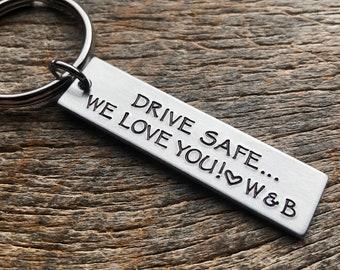 Drive Safe We Love You Customizable Hand Stamped Light Weight  Aluminum Rectangle  key chain Best Friend/Boyfriend/Girlfriend /
