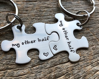 Customized Puzzle Piece Key ChainsPersonalized My Other Half best friends / College Moving/Family/ sorority sisters key chain Wedding Gift