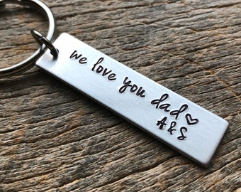 Love You Dad Hand Stamped Light Weight  Aluminum Rectangle  key chain Father's Day / Dad / Wedding Gift /Father of Bride / Groom