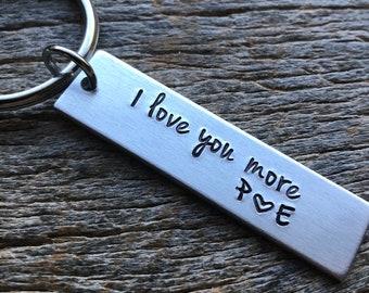 Customizable I Love You More Hand Stamped Light Weight  Aluminum Rectangle  key chain Best Friend/Boyfriend/Girlfriend