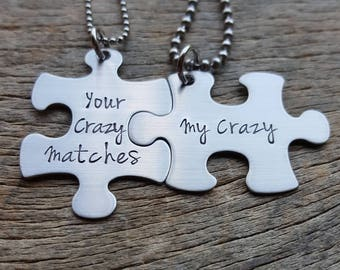 CustomizableYour Crazy Matches My Crazy Necklace Set - Hand Stamped Stainless Steel Wedding Anniversary Gift Deadpool Inspired