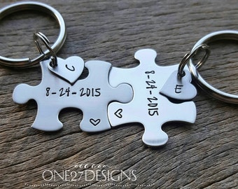 Customizable Date  Puzzle Piece Key Chain Set Heart Charms with Initials Hand Stamped Personalized His and Hers Set