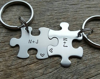 Customizable Initials  Hand Stamped Puzzle Piece His and Hers  Keychain Couples Set