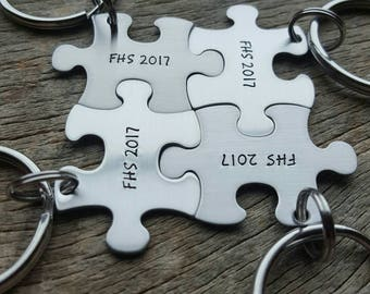 Customizable Class of  High School/College Puzzle Piece Key Chain Personalized best friends sorority  key chain Graduation  Gift