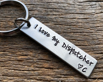 I Love My Hand Stamped Thick Aluminum Rectangle Key Chain Lineman/ Firefighter/ Trucker / Sheriff / ETC.
