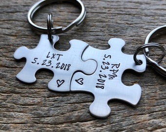Couples Custom Puzzle Piece Initials with anniversary Date gift for Him or Her Personalized Wedding Boyfriend Girlfriend