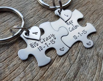 His Crazy Her Calm With Initial Hearts Anf Date Couples Custom Puzzle Piece key Chain Set   anniversary gift for Him Personalized