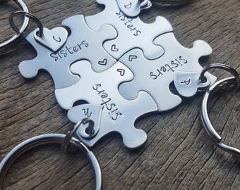 Customizable Sisters Puzzle Piece Key Chain Personalize with Initial Heart Hand Stamped Graduation Bridesmaids Family Gift
