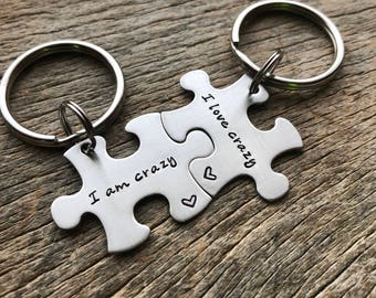 Customizable I Am Crazy I Love Crazy Puzzle Piece Key chain Set - Hand Stamped Stainless Steel Couples set/ Best Friends