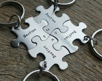 Customized Besties Puzzle Piece Key Chain Personalized with Initials  best friends sorority sisters key chain Christmas Gift Birthday Gift