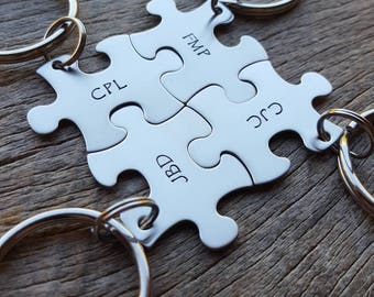 Customizable  Puzzle Piece Key Chain Personalized with Initials best friends / College Moving/Family/ sorority sisters key chain