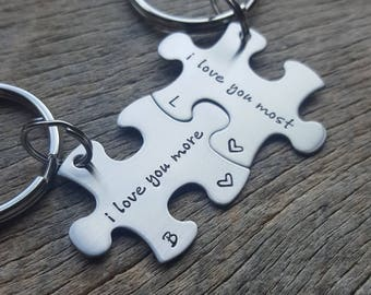 I Love You More I Love You Most Puzzle Piece Key Chain Set - Hand Stamped Stainless Steel Anniversary Gift Boyfriend Girlfriend Husband Wife