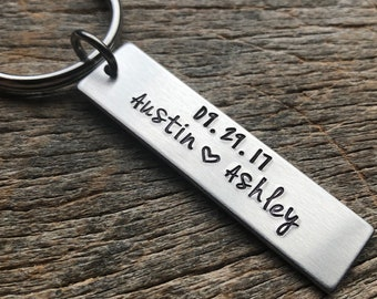 Name And Date  Hand Stamped Light Weight  Aluminum Rectangle  key chain Husband/ Wife/ Boyfriend/Girlfriend / Anniversary Gift