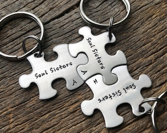 Customized Best Friends Soul Sisters Puzzle Piece Key Chain with Initials  Personalized sorority sisters key chain