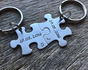 Couples Custom Puzzle Piece key Chain Set Hers Date and Initial anniversary gift for Him Personalized