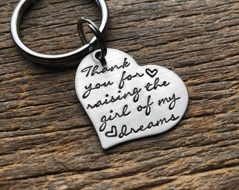 Thank You For Raising the Girl of my Dreams heart key chain  Hand Stamped Stainless Steel Wedding Gift Mother of the Groom