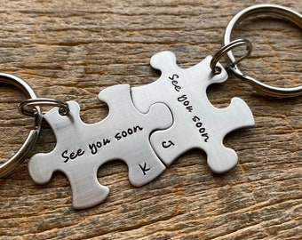 See You Soon Customized Puzzle Piece Key Chain Personalized  best friends / College Moving/Family/ sorority sisters key chain