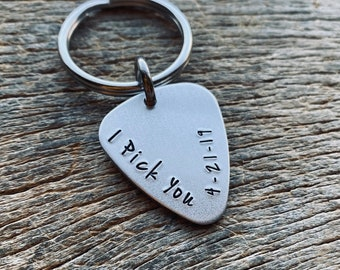 Lightweight Aluminum Guitar Pick Key Chain I Pick You With Date Hand Stamped Customizable Musician Father's Day Graduation Gift for Him