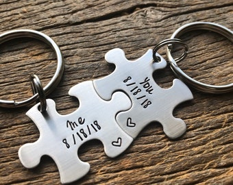 Couples Custom Puzzle Piece Key Chain Set Anniversary Gift Boyfriend Girlfriend Husband Wife Gift